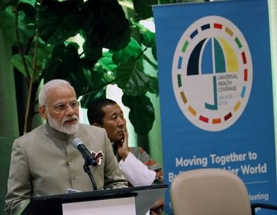 United Nations: Prime Minister Narendra Modi addresses at High-Level Meeting on Universal Health Coverage at United Nations on Sep 23, 2019.  (Photo: Mohammed Jaffer/IANS)
