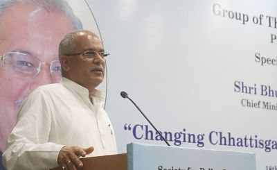 """New Delhi: Chhattisgarh Chief Minister Bhupesh Baghel addresses during a special lecture on """"Changing Chhattisgarh Under New Leadership"""" in New Delhi on Aug 18, 2019. (Photo: IANS)"""