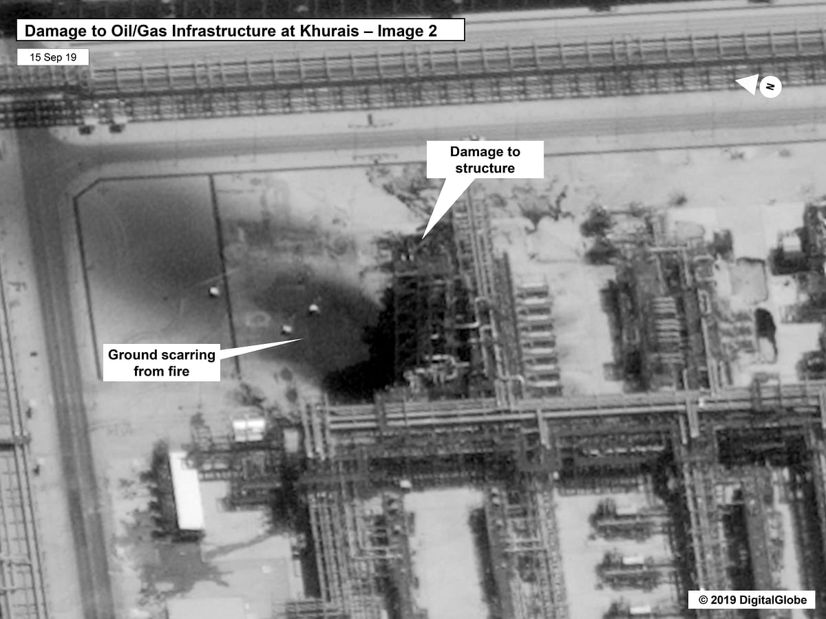 The image shows damage to the infrastructure at Saudi Aramco's Kuirais oil field in Buqyaq, Saudi Arabia.