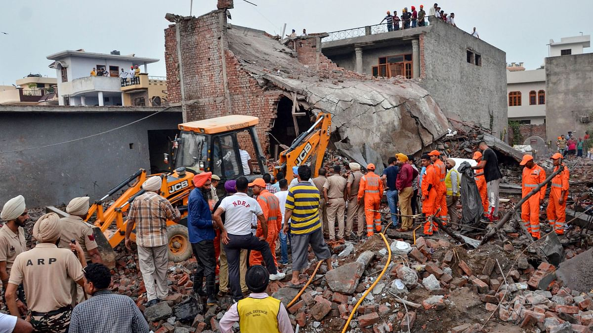 Rescue works underway after a blast in a fireworks factory at Batala, in Gurdaspur district of Punjab.