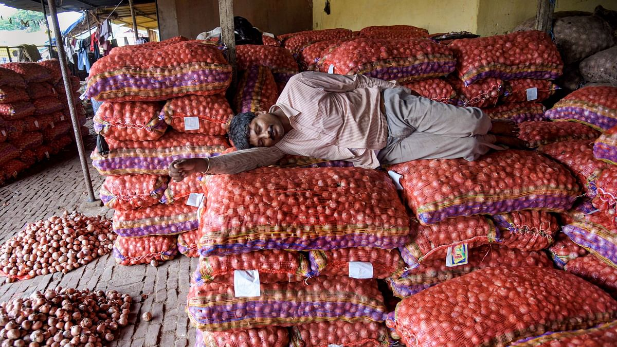 A labourer rests on sacks of onions at a wholesale market in Prayagraj.