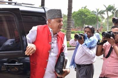 New Delhi: National Conference MP Farooq Abdullah arrives at Parliament, in New Delhi on July 10, 2019. (Photo: Partha Pratim Sarkar/IANS)
