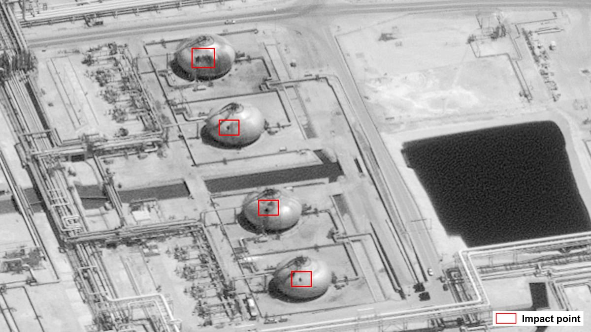 Image provided by the US government and DigitalGlobe  shows damage to  Saudi Aramco's Abaqaiq oil processing facility in Buqyaq.