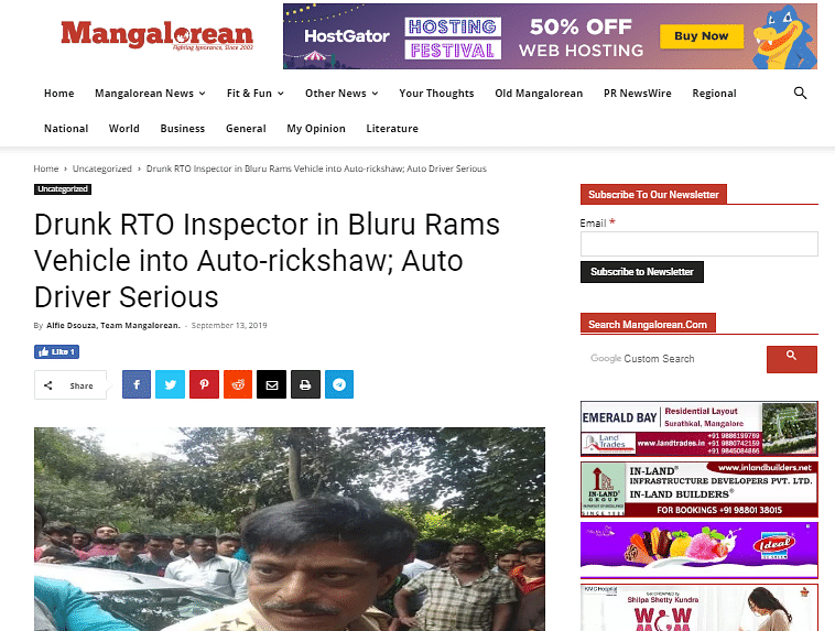 "The website reports ""Drunk RTO Inspector In Bluru Rams Vehicle into Auto-rickshaw""."