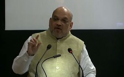 New Delhi: Union Home Minister Amit Shah addresses during the 49th Foundation Day celebrations of Bureau of Police Research and Development (BPR&D) in New Delhi, on Aug 28, 2019. (Photo: IANS/BJP)
