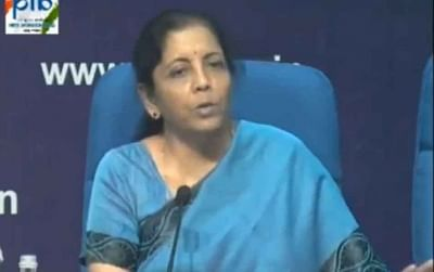 New Delhi: Union Finance and Corporate Affairs Minister Nirmala Sitharaman addresses a press conference at National Media Centre in New Delhi, on Sep 14, 2019. (Photo: IANS/PIB)