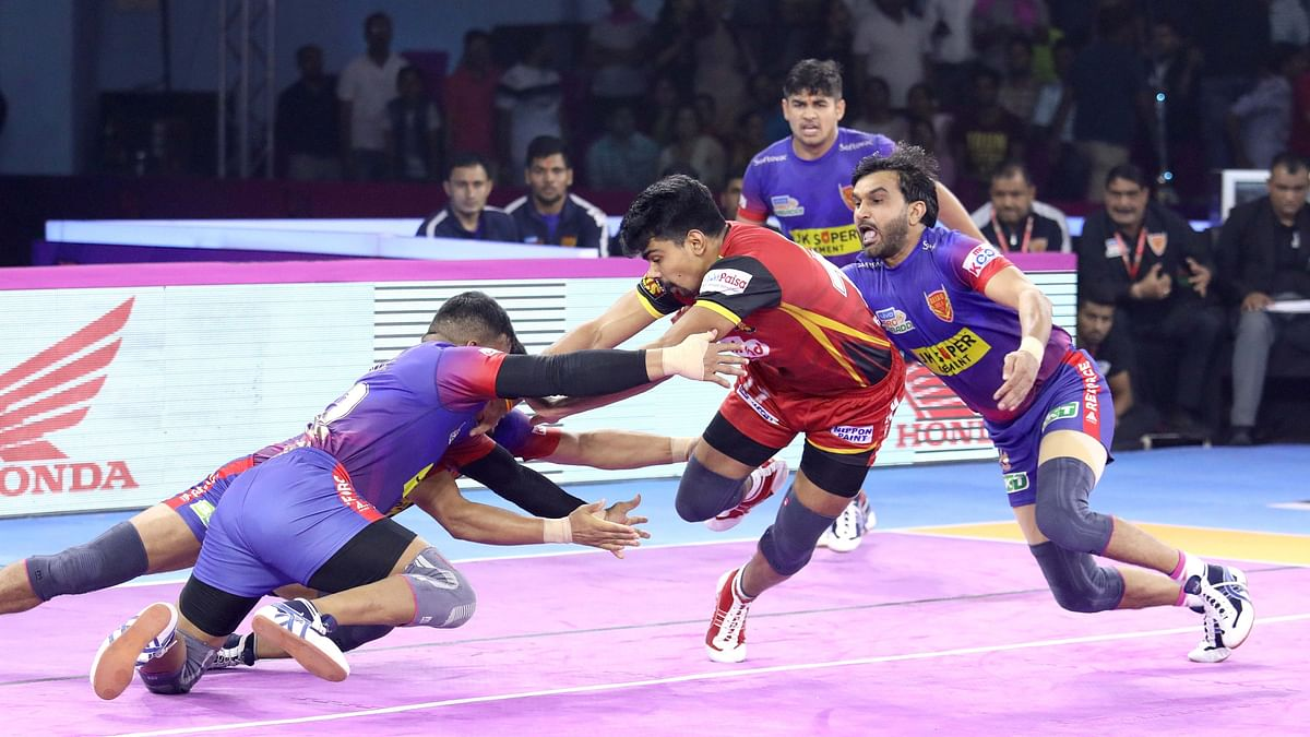The match was billed as the clash of the league's best raiders in Delhi's Naveen Kumar and Pawan Sehrawat of Bulls.