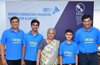Bengaluru: Infosys Foundation Chairperson Sudha Murthy with Former shuttler Prakash Padukone during the signing of an MoU between Infosys Foundation and Padukone Badminton Academy, in Bengaluru on Sep 5, 2019. (Photo: IANS)