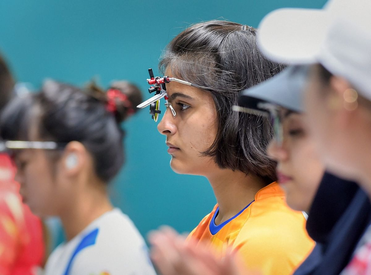File picture of Manu Bhaker in competition.