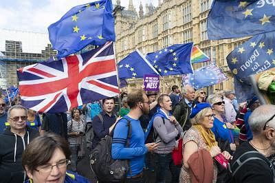 LONDON, Sept. 3, 2019 (Xinhua) -- Anti-Brexit protesters take part in a demonstration in London, Britain, on Sept. 3, 2019. British Prime Minister Boris Johnson on Tuesday lost a key Brexit vote in the House of Commons as anti-no deal MPs take control of the parliamentary business. (Photo by Ray Tang/Xinhua/IANS)