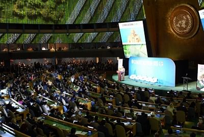 New York: Prime Minister Narendra Modi addresses at the Climate Action Summit 2019 during the 74th session of the UN General Assembly (UNGA 74) at United Nations on Sep 23, 2019. (Photo: IANS/MEA)