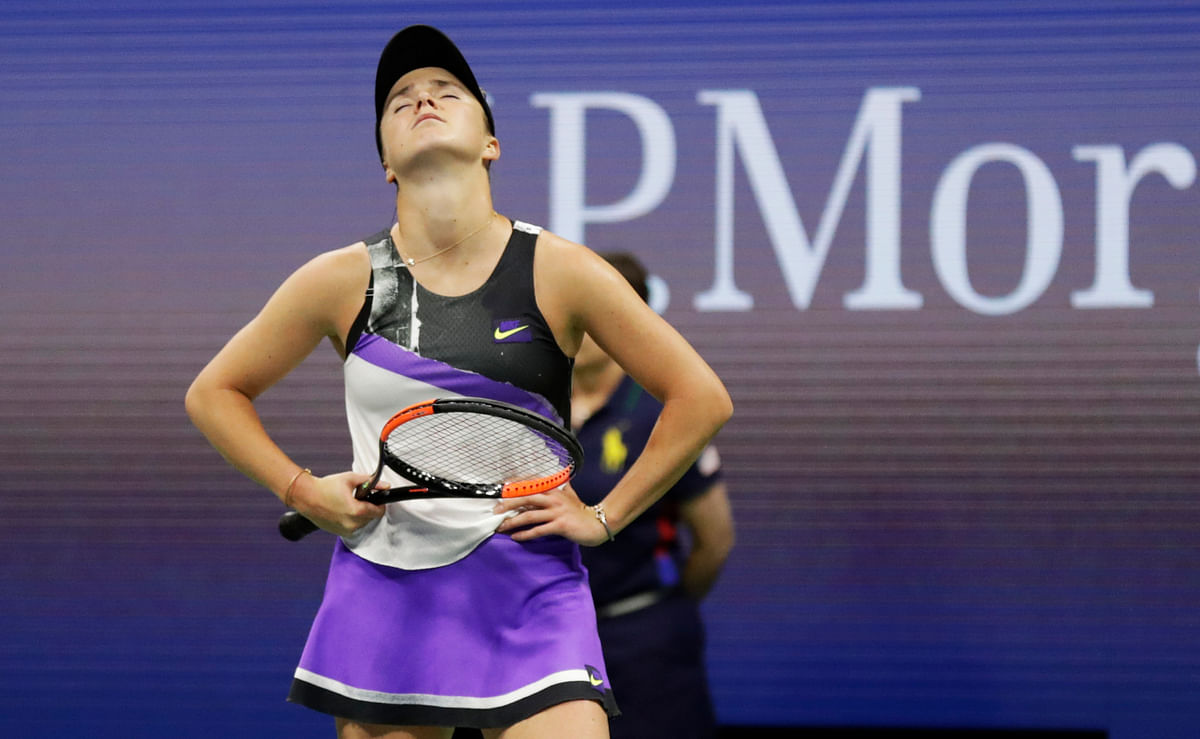 Elina Svitolina, of Ukraine, reacts after losing a point to Serena Williams, of the United States, during the semifinals of the U.S. Open tennis championships Thursday, Sept. 5, 2019, in New York.
