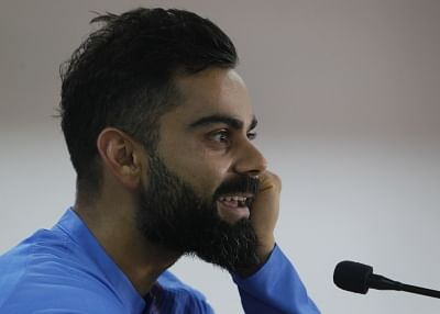 Dharamsala: Indian skipper Virat Kohli addresses a press conference on the eve of their first T20I match against South Africa, at Himachal Pradesh Cricket Association Stadium in Dharamsala on Sep 14, 2019. (Photo: Surjeet Yadav/IANS)