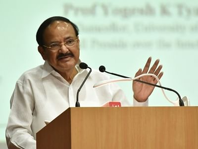New Delhi: Vice President M. Venkaiah Naidu addresses at the Silver Jubilee Celebrations of Maharaja Agrasen College, in New Delhi on Sep 6, 2019. (Photo: IANS/PIB)
