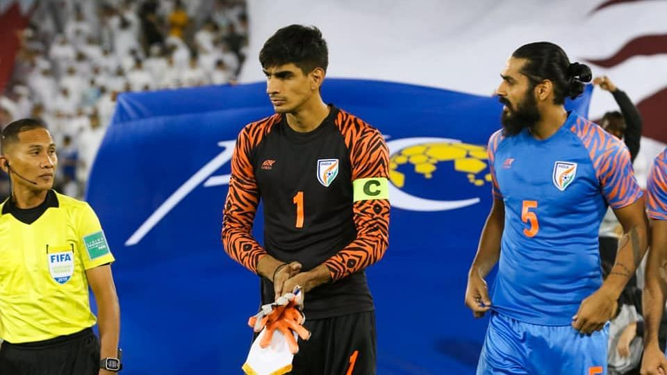 Gurpreet Singh Sandhu was standing in as captain for the match and helped India draw the game with his multiple saves.