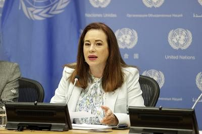 UNITED NATIONS, July 15, 2019 (Xinhua) -- United Nations General Assembly (UNGA) President Maria Fernanda Espinosa Garces speaks to journalists during a press briefing on gender equality and women