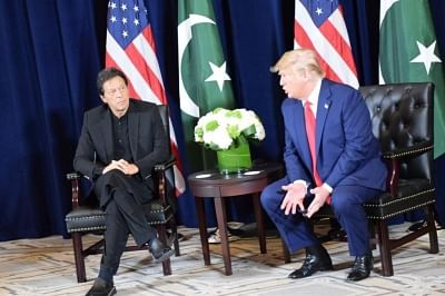 Pakistan Prime Minister Imran Khan meets US President Donald Trump on the sidelines of the 74th UN General Assembly in New York on Sep 23, 2019.