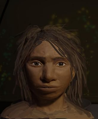 This image shows a preliminary portrait of a juvenile female Denisovan based on a skeletal profile reconstructed from ancient DNA methylation maps. (Photo Courtesy: Maayan Harel)