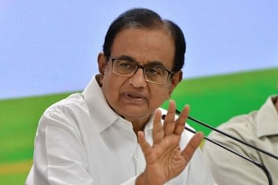 New Delhi: Congress leader P. Chidambaram addresses a press conference at the party