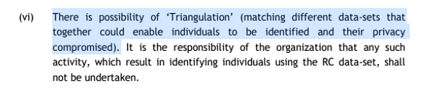 A section of the Bulk Data Sharing Policy, which warns of the dangers of matching different datasets.