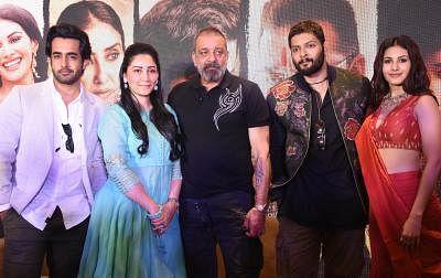 Producer Maanayata Dutt with actors Satyajeet Dubey, Sanjay Dutt, Ali Fazal and Amyra Dastur. (Photo: IANS)