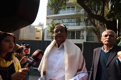 New Delhi: Senior Congress leader P. Chidambaram talks to the press at his Jor Bagh residence in New Delhi on Jan 13, 2018. The Enforcement Directorate on Saturday conducted raids on P. Chidambaram