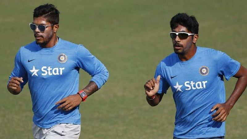 An injury to Jasprit Bumrah has forced him out of the upcoming Test series against South Africa. Umesh Yadav (left) has been named as his replacement.