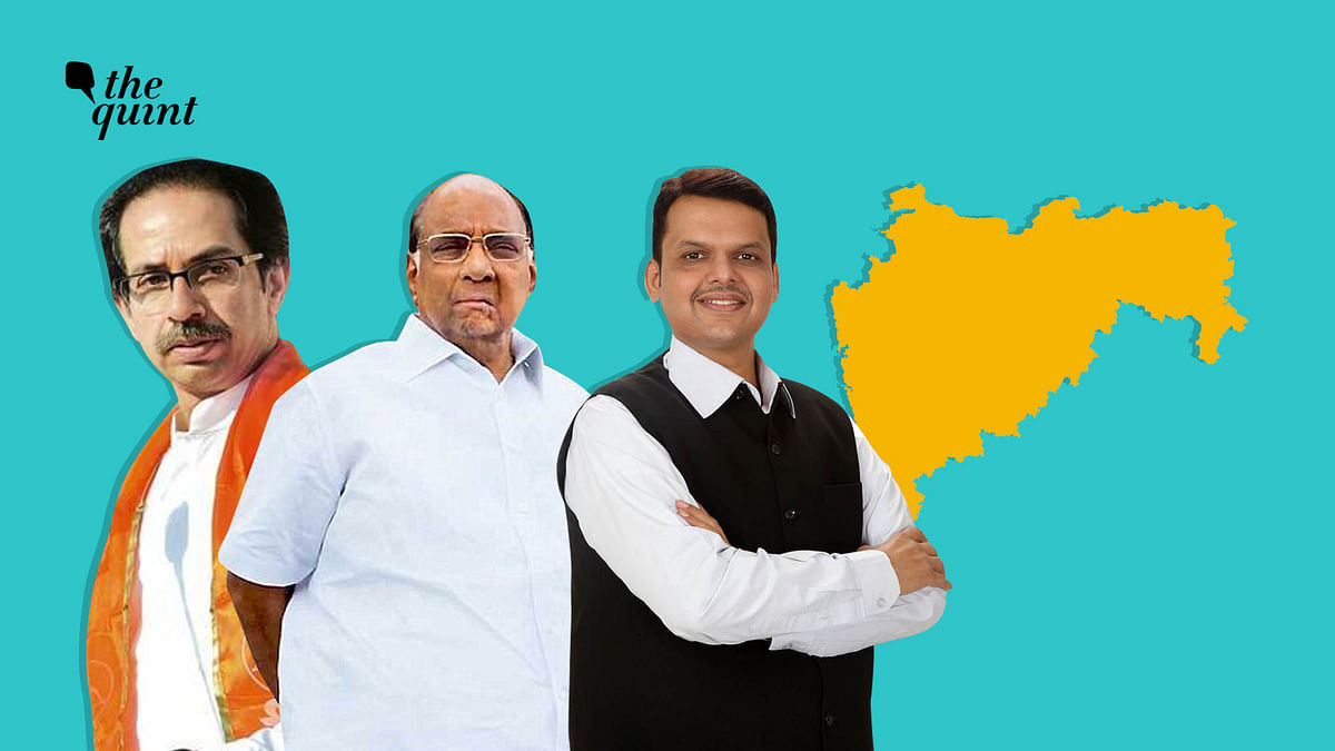 From left to right:  Uddhav Thackeray, NCP Chief Sharad Pawar and Devendra Fadnavis.