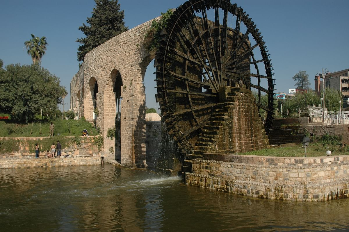 An ancient water wheel in Hamas.