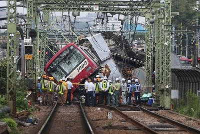 YOKOHAMA, Sept. 5, 2019 (Xinhua) -- The collided train is seen at the accident scene in Yokohama, Japan, Sept. 5, 2019. One man has been confirmed dead and dozens of people were injured after a train collided with a truck in Yokohama, south of Tokyo, on Thursday, causing sections of the train to derail. (Xinhua/Ma Caoran/IANS)