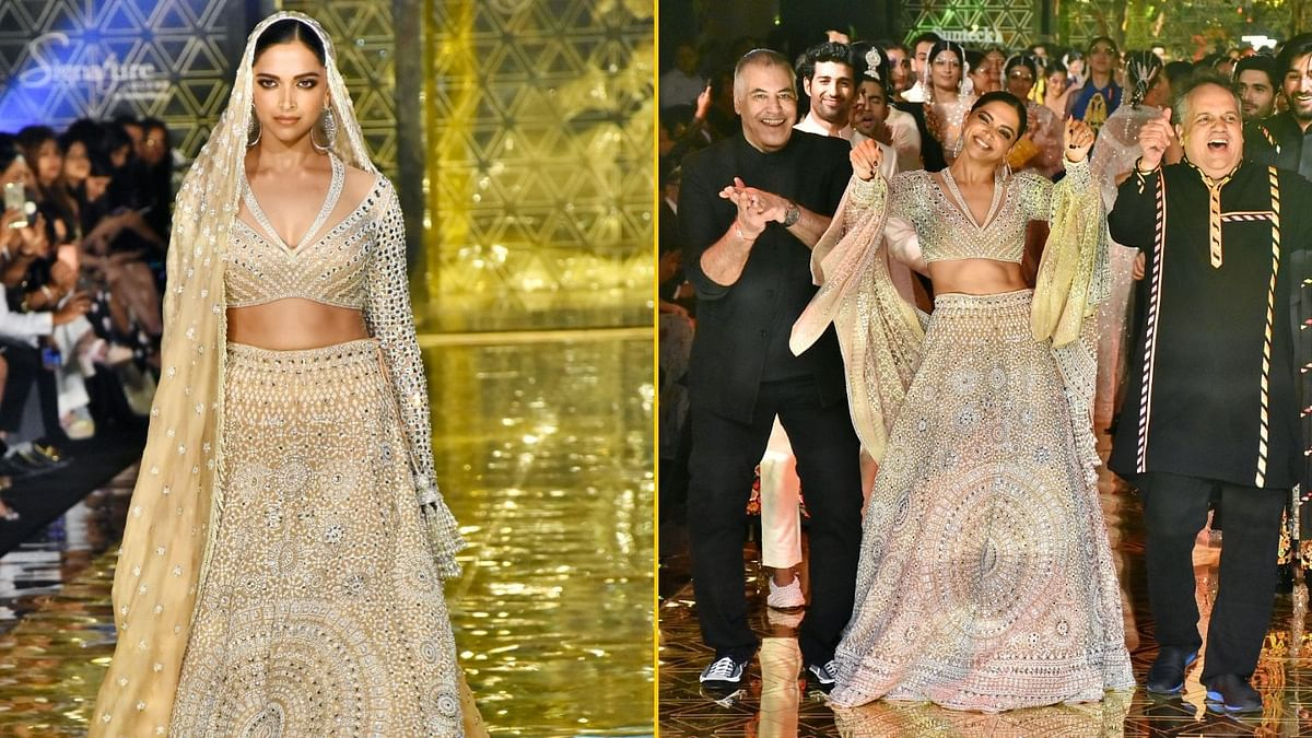 Deepika Stuns in Lehenga for Abu Jani-Sandeep Khosla Fashion Show