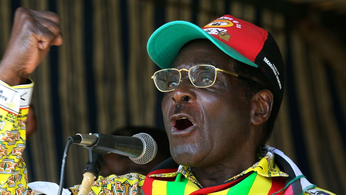 In this photo from 18 March, 2008, Zimbabwe President Robert Mugabe addresses party supporters at a rally in Gweru.