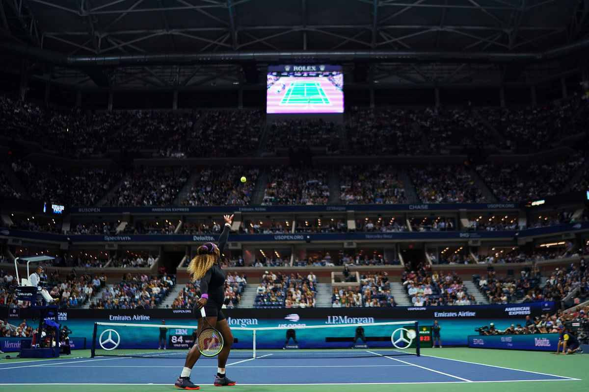 Serena Williams, of the United States, serves to Elina Svitolina, of Ukraine, during the semifinals of the U.S. Open tennis championships Thursday, Sept. 5, 2019, in New York.