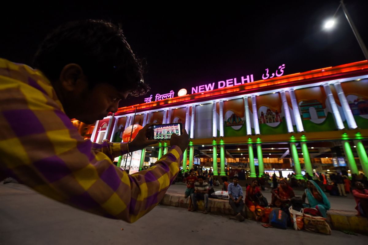 A view of the illuminated New Delhi Railway Station with the newly installed facade lighting. Indian Railways, under its station re-development and beautification initiative, has given NDLS new lighting on both Paharganj and Ajmeri Gate stations