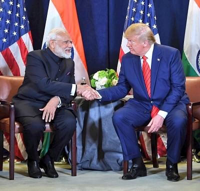 Prime Minister Narendra Modi and US President Donald Trump during a meeting on the sidelines of the UNGA74 at United Nations on Sep 24, 2019.