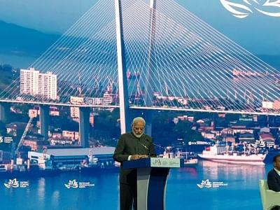 Vladivostok:  Prime Minister Narendra Modi addresses at the Plenary session of the Eastern Economic Forum (EEF) 2019 as the Chief Guest in Vladivostok, Russia on Sep 5, 2019. (Photo: IANS/MEA)