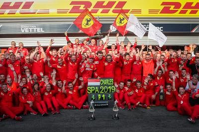 SPA-FRANCORCHAMPS, Sept. 2, 2019 (Xinhua) -- Team members of Ferrari celebrate after the Formula 1 Belgian Grand Prix at Spa-Francorchamps Circuit, Belgium, Sept. 1, 2019. (Xinhua/Zheng Huansong/IANS)