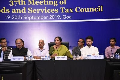 Goa: Union Finance Minister Nirmala Sitharaman chairs the 37th council meeting of the Goods and Services Council (GST) in Goa on Sep 20, 2019. Also seen Union MoS Finance Anurag Thakur and Revenue Secretary Ajay Bhushan Pandey. (Photo: IANS)