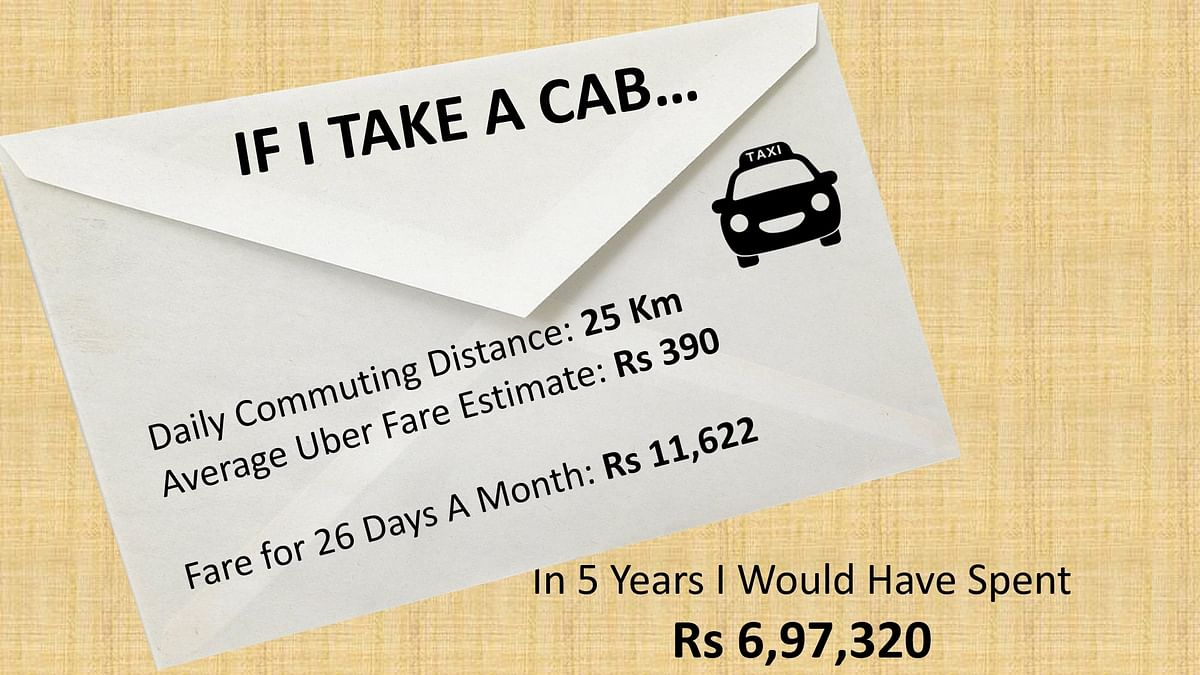 Over 5 years, you will likely end up spending close to Rs 7 lakh on cabs.