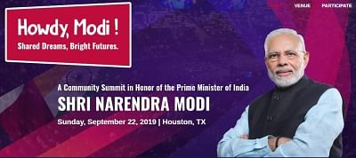 """Logo for the """"Howdy Modi!â€Â� meeting being organised by Texas India Forum for Prime Minister Narendra Modi in Houston, Texas, on September 22, 2019. (Photo: Texas India Forum)"""