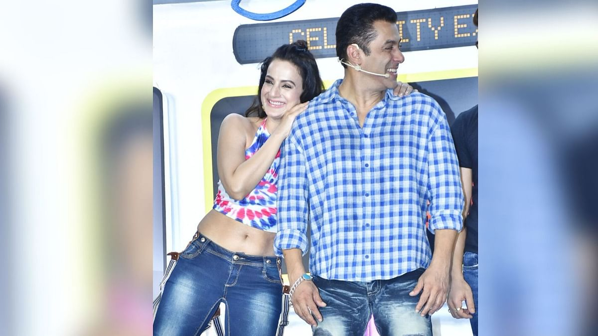 Salman Khan and Ameesha Patel at the launch of <i>Bigg Boss 13</i>.