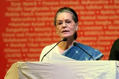 """New Delhi: UPA Chairperson Sonia Gandhi addresses during """"Peoples"""
