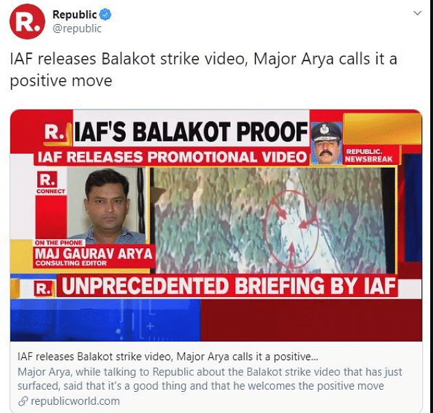 The screenshot of fake news carried by Republic TV.