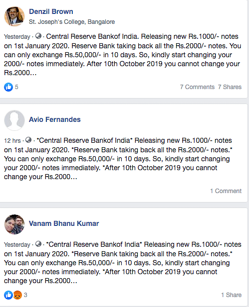 Various Facebook accounts making the claim