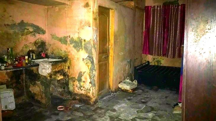 The third floor house in the Saki Naka police-department complex where the Sawants lived. One night, water seeped in from all corners of the ceiling, ruining the walls and the floor of the house.