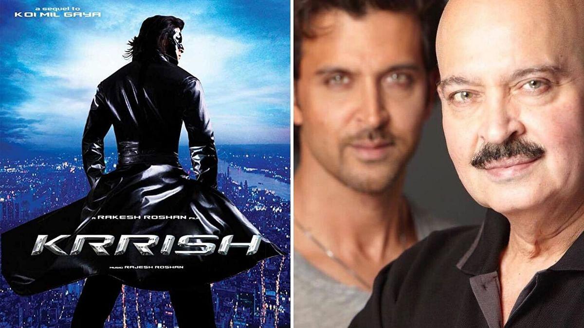 <i>Krrish </i>poster and Rakesh Roshan.