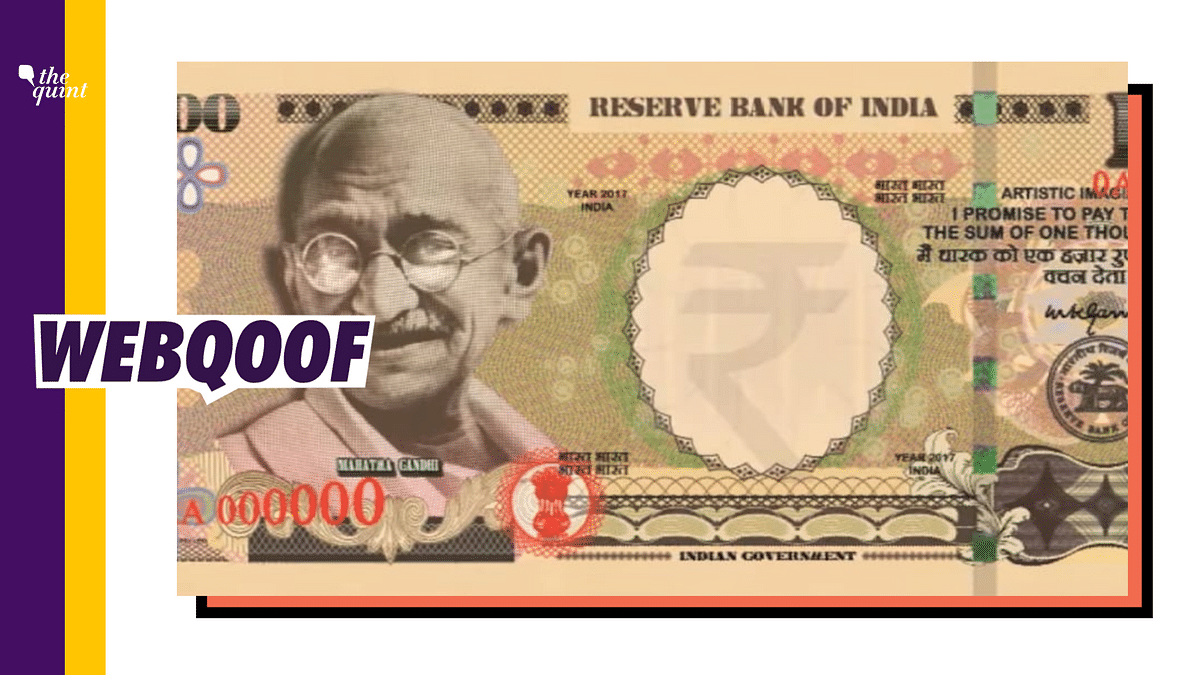 An image on social media falsely claimed that it is the new Rs 1,000 rupee note.