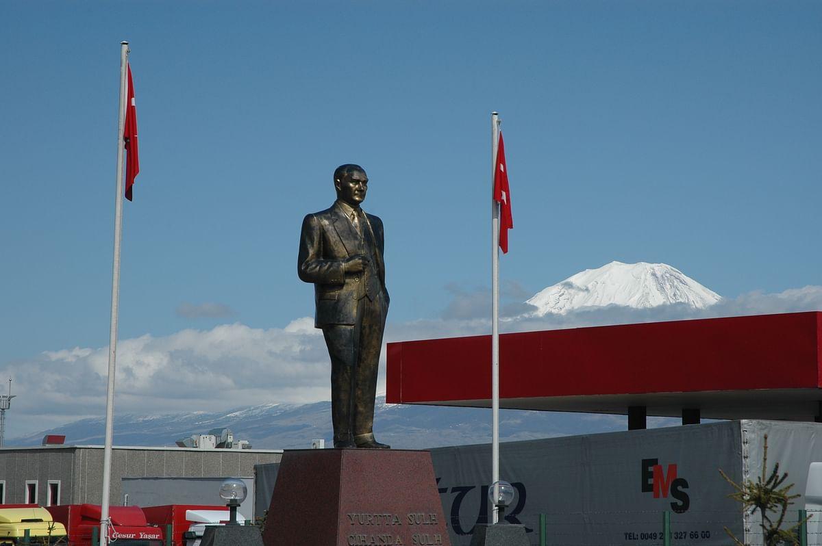 Kamal Ataturk and Mt. Ararat at the Iran-Turkey border in Bazargan