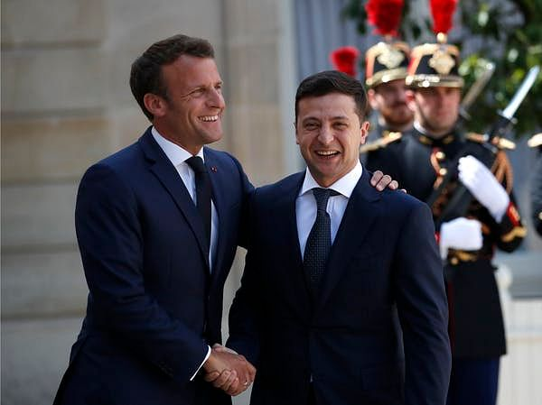 Zelenskiy may have damaged relations with European allies by his phone call with Trump. Here, Zelenskiy, right, is seen with French President Emmanuel Macron, in Paris