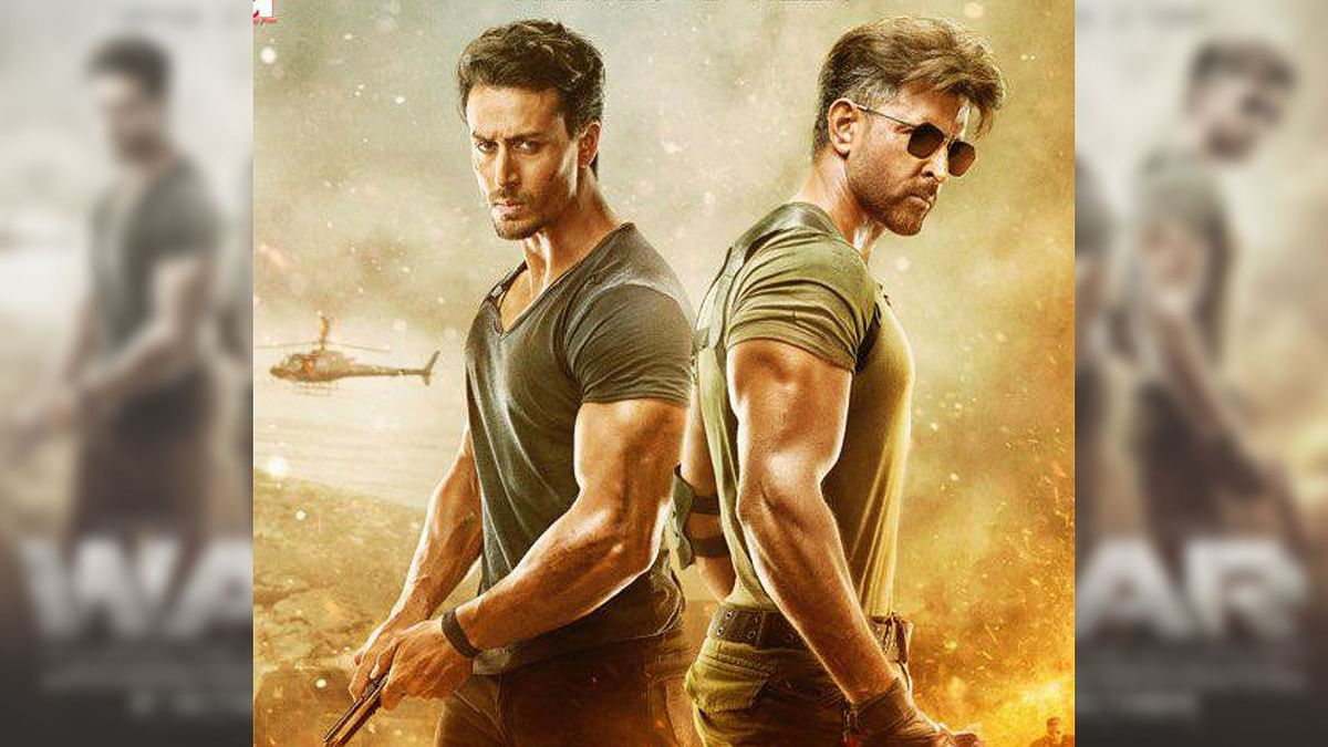 Hrithik Roshan and Tiger Shroff in a poster for <i>War</i>.